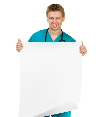 smiling doctor hold the paper with copy space for text or design Stock Photo - 16036254