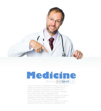 doctor showing clipboard on white background photo