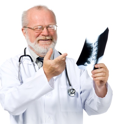 Portrait of senior medical doctor checking X-Ray photo