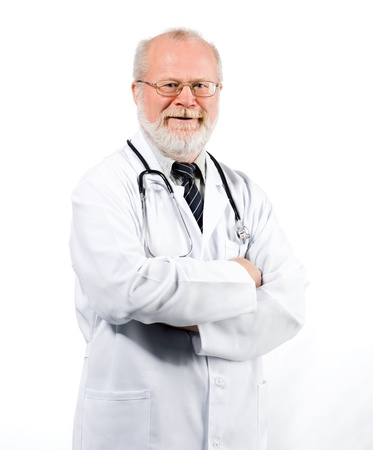 Portrait of friendly doctor isolated against white background Stock Photo