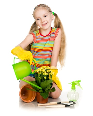 little girl watering flowers on a white background photo