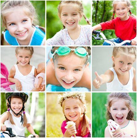 collage caras: collage de fotos de verano de una niña Foto de archivo