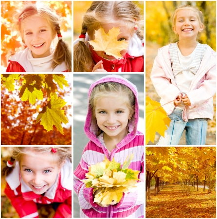 Autumn collage  Portraits of cute little girl