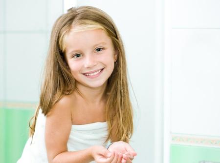 little girl bath: Cute little girl washing in bath
