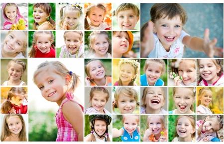 collage caras: Establecer las fotos de una linda ni�a
