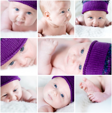 newborn girl lying in a purple hat  collage photo
