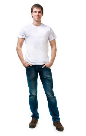 Pretty young man on white background  Studio shot photo