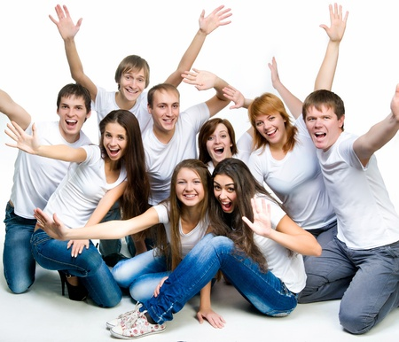 young smiling people over white background photo