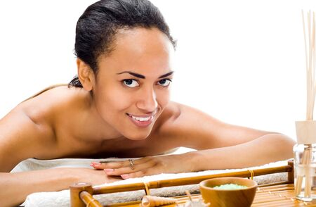 afro american nude: Pretty young women relaxing in the spa salon