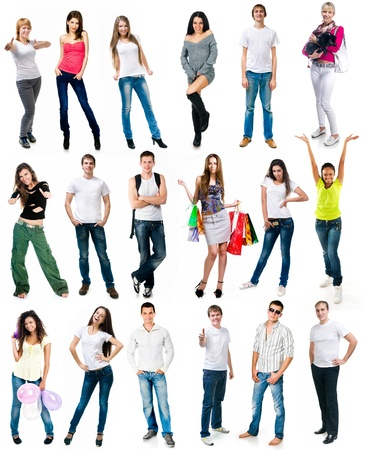 set photos of a young people smiling over white background Stock Photo - 17330401