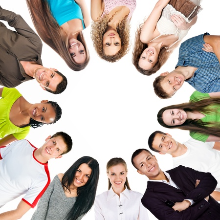 group of a happy people isolated on white background Stock Photo - 17330400