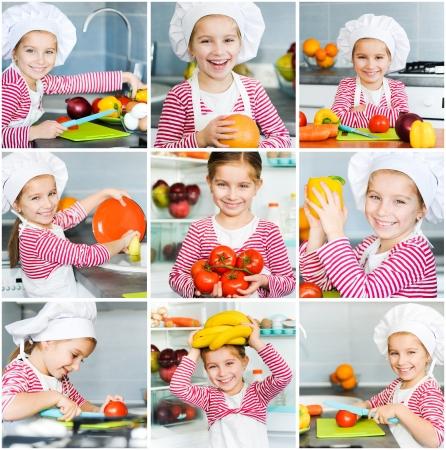 frutas divertidas: Ni�a preparando comida saludable en la cocina Collage