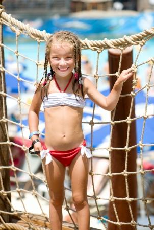 portrait of a little girl aquapark  Summer holiday