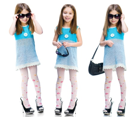 Little girl in big shoes  Isolated on white background  Set Stock Photo - 17385748