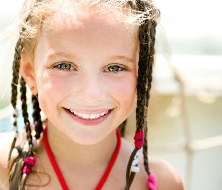 aquapark: close-up portrait of a little girl aquapark  Summer holiday