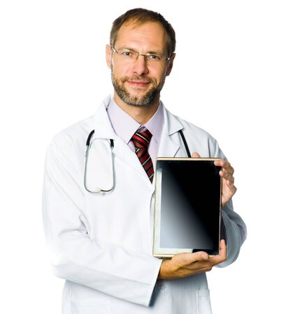 doctor show a tablet pc  white background Stock Photo - 17412205