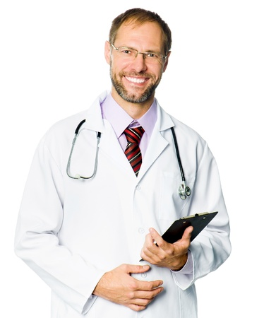 clipboard isolated: Portrait of a smiling doctor with a plane-table and pen on white background