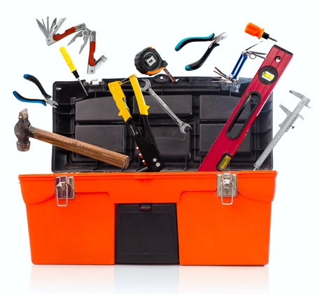 Toolbox with tools isolated on white background photo