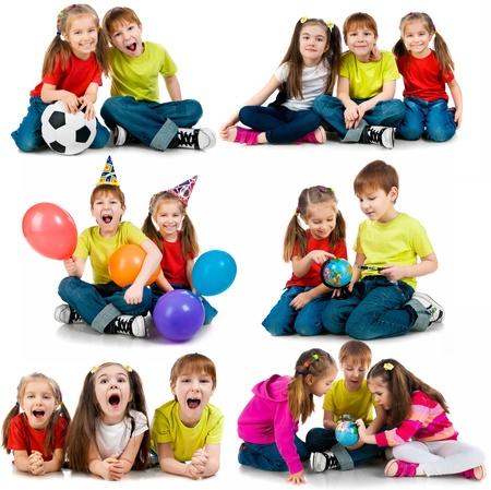 흰색 배경에 콜라주 행복한 아이들 스톡 콘텐츠