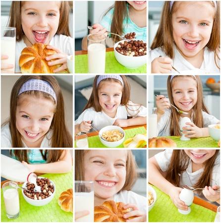 comiendo platano: Nutrición saludable niña linda comiendo su desayuno en la cocina