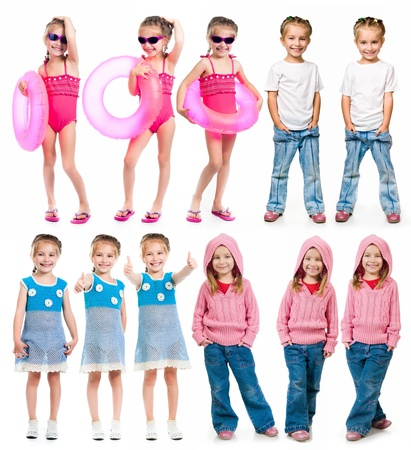 6 years girl: set of a little girl photos on a white background