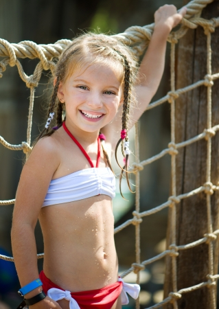 portrait of a little girl aquapark  Summer holiday Stock Photo - 18568871