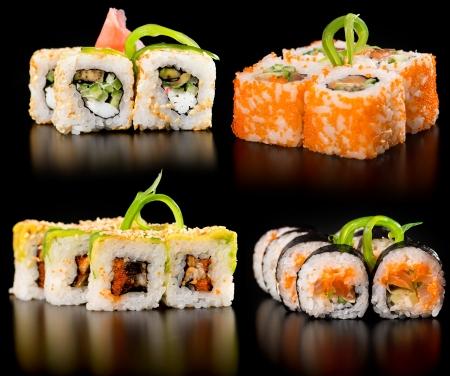 Sushi fijado en un fondo negro Foto de archivo - 18568470