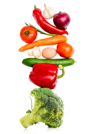 Fresh vegetables isolated on white background photo