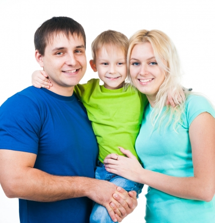 child couple: happy three members family on a white background