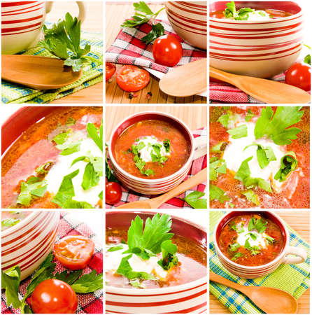 Tomato soup with tomatoes in background ower white  Ukrainian national food photo