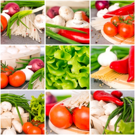 Fresh vegetables collage on the kitchen table closeup Stock Photo - 18949749