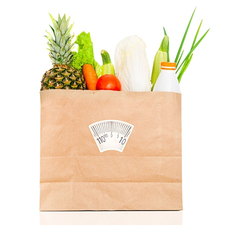 Fresh food in a paper bag  Healthy diet photo