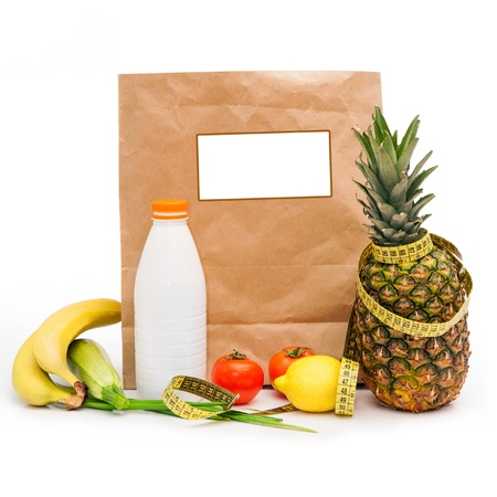 Healthy diet  Fresh food in a paper bag photo