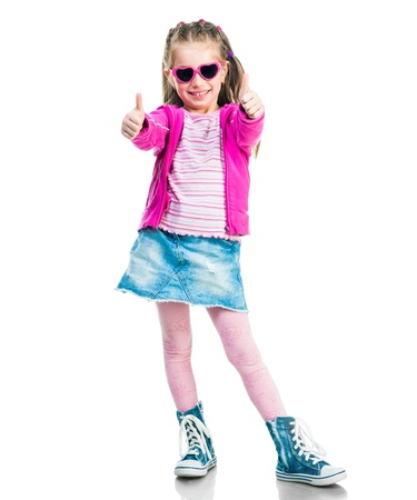 6 years: beautiful little fashion girl show thumb Stock Photo