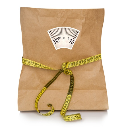 scale weight: empty paper bag with a tape measuring