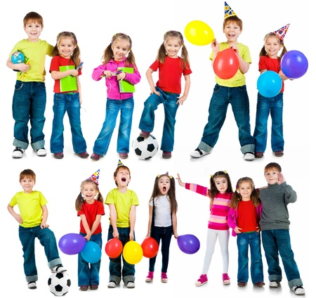 football party: happy kids on a white background  set