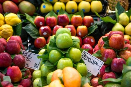 boqueria: ripe fruits at Boqueria Market in Spain Stock Photo