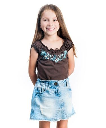 흰색 배경에 고립 된 작은 패션 소녀 스톡 콘텐츠