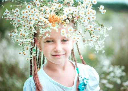 six year old girl with a wreath on her head on the field with chamomiles photo