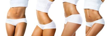 흰색 배경에 고립 된 집합 완벽한 여성의 몸 스톡 콘텐츠