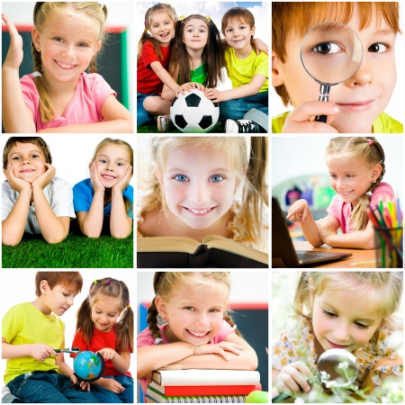 collage of photographs on the subject of education  schoolchildren are trained
