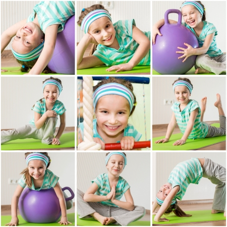 happy little girl engaged in fitness at home photo