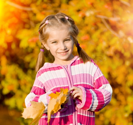 mountain ash: little girl against the leaves of mountain ash Stock Photo