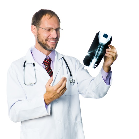 Portrait of senior medical doctor holding X-Ray  White background photo