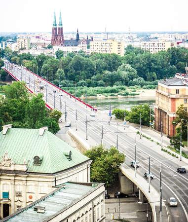 praga: Cityscape of Warsaw, Poland, Slasko-Dabrowski bridge, Praga district behind the Vistula river Stock Photo