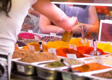 boqueria: Selling spices at the Boqueria market in Barcelona  Spain Stock Photo