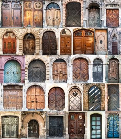photo collage of old doors Gothic quarter in Barcelona  Spain Stock Photo