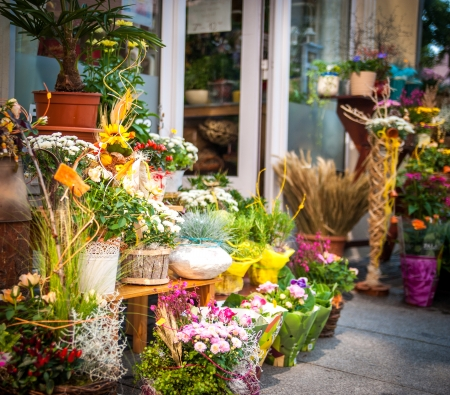 entrance into a small flower shop