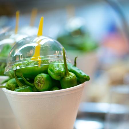 boqueria: Green peppers at the Boqueria market  Barcelona  Spain