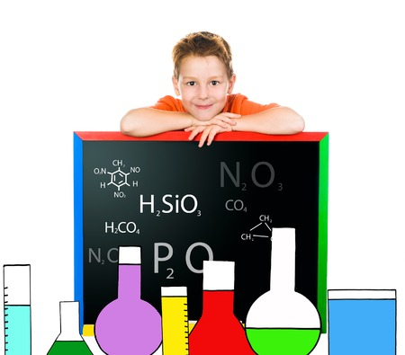 little boy drawn lab with flasks and formulas photo